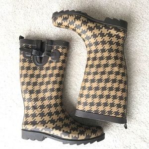 Capelli Houndstooth Print Rain Boots 7/8